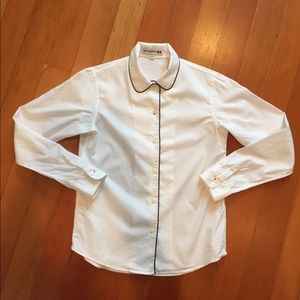 Ines de la Fressange white blouse with navy piping